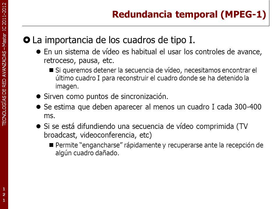TECNOLOGÍAS DE RED AVANZADAS – Master IC 2011-2012 Redundancia temporal (MPEG-1) La importancia de los cuadros de tipo I. En un sistema de vídeo es ha