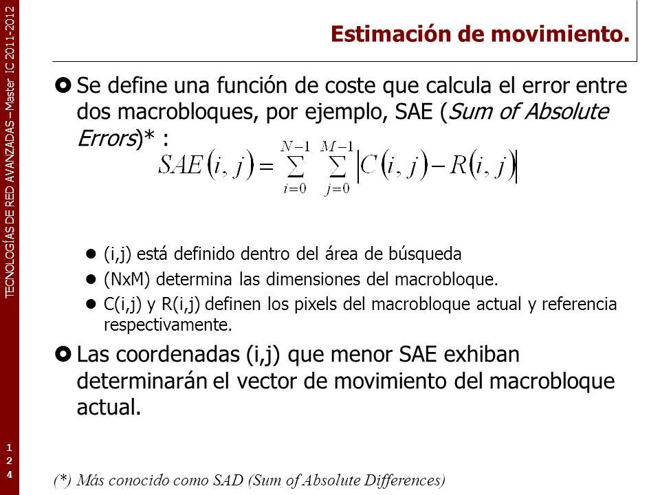 TECNOLOGÍAS DE RED AVANZADAS – Master IC 2011-2012 Estimación de movimiento. Se define una función de coste que calcula el error entre dos macrobloque