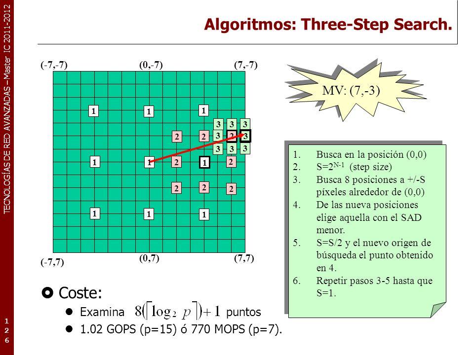 TECNOLOGÍAS DE RED AVANZADAS – Master IC 2011-2012 Algoritmos: Three-Step Search. Coste: Examina puntos 1.02 GOPS (p=15) ó 770 MOPS (p=7). 126126126 M