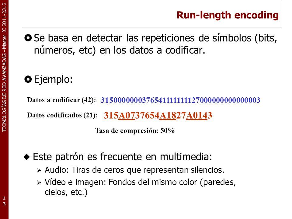 TECNOLOGÍAS DE RED AVANZADAS – Master IC 2011-2012 Run-length encoding Se basa en detectar las repeticiones de símbolos (bits, números, etc) en los da