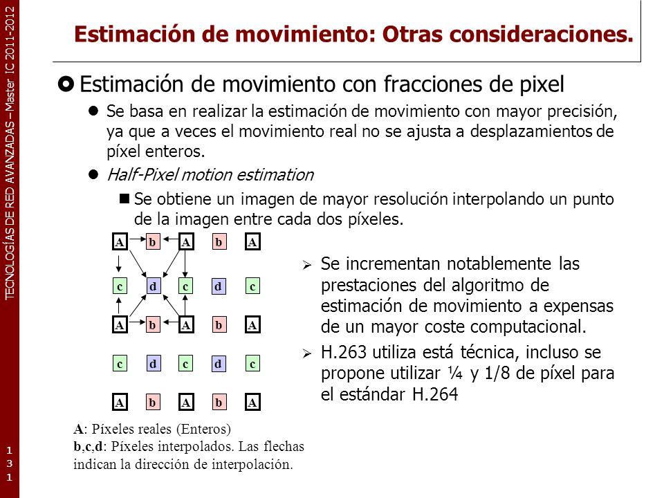 TECNOLOGÍAS DE RED AVANZADAS – Master IC 2011-2012 Estimación de movimiento: Otras consideraciones. Estimación de movimiento con fracciones de pixel S
