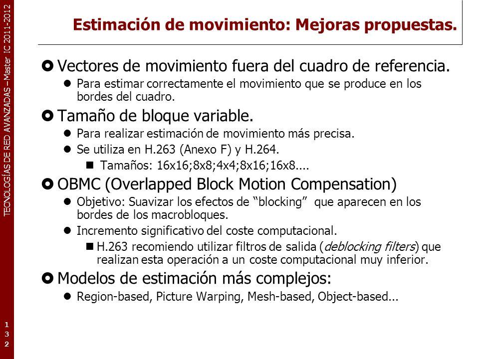 TECNOLOGÍAS DE RED AVANZADAS – Master IC 2011-2012 Estimación de movimiento: Mejoras propuestas. Vectores de movimiento fuera del cuadro de referencia