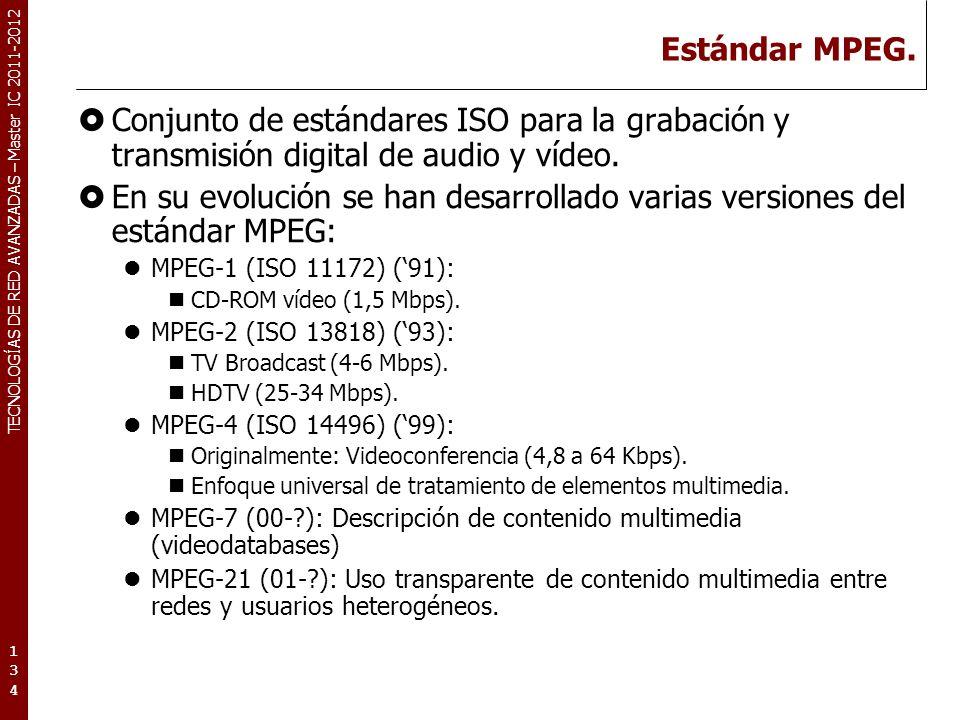 TECNOLOGÍAS DE RED AVANZADAS – Master IC 2011-2012 Estándar MPEG. Conjunto de estándares ISO para la grabación y transmisión digital de audio y vídeo.
