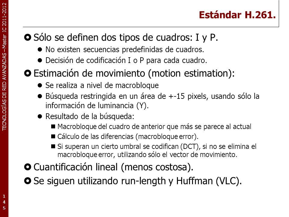 TECNOLOGÍAS DE RED AVANZADAS – Master IC 2011-2012 Estándar H.261. Sólo se definen dos tipos de cuadros: I y P. No existen secuencias predefinidas de
