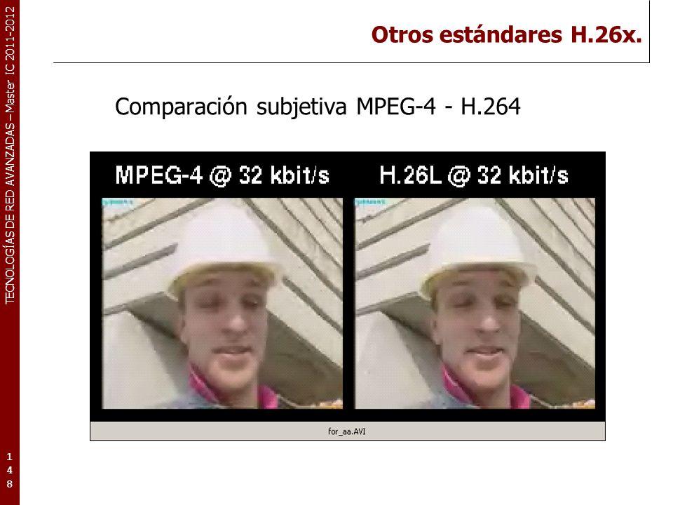 TECNOLOGÍAS DE RED AVANZADAS – Master IC 2011-2012 Otros estándares H.26x. Comparación subjetiva MPEG-4 - H.264 148148148