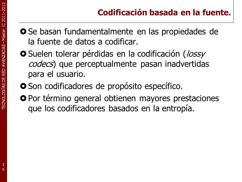 TECNOLOGÍAS DE RED AVANZADAS – Master IC 2011-2012 Codificación basada en la fuente. Se basan fundamentalmente en las propiedades de la fuente de dato
