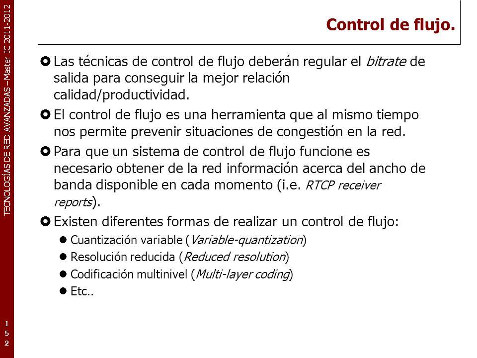 TECNOLOGÍAS DE RED AVANZADAS – Master IC 2011-2012 Control de flujo. Las técnicas de control de flujo deberán regular el bitrate de salida para conseg