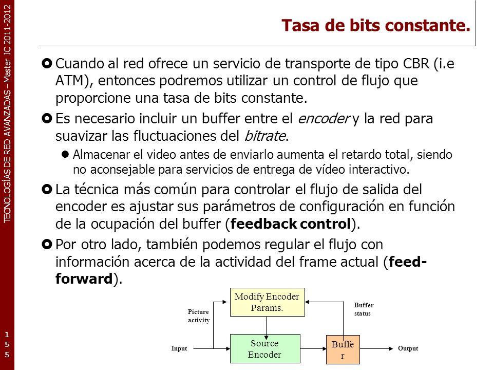 TECNOLOGÍAS DE RED AVANZADAS – Master IC 2011-2012 Tasa de bits constante. Cuando al red ofrece un servicio de transporte de tipo CBR (i.e ATM), enton
