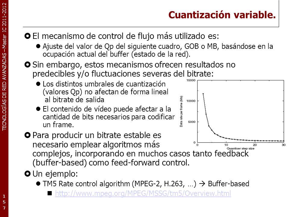 TECNOLOGÍAS DE RED AVANZADAS – Master IC 2011-2012 Cuantización variable. El mecanismo de control de flujo más utilizado es: Ajuste del valor de Qp de