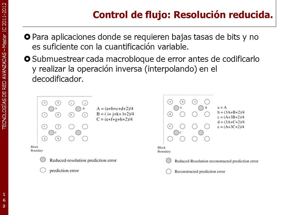 TECNOLOGÍAS DE RED AVANZADAS – Master IC 2011-2012 Control de flujo: Resolución reducida. Para aplicaciones donde se requieren bajas tasas de bits y n