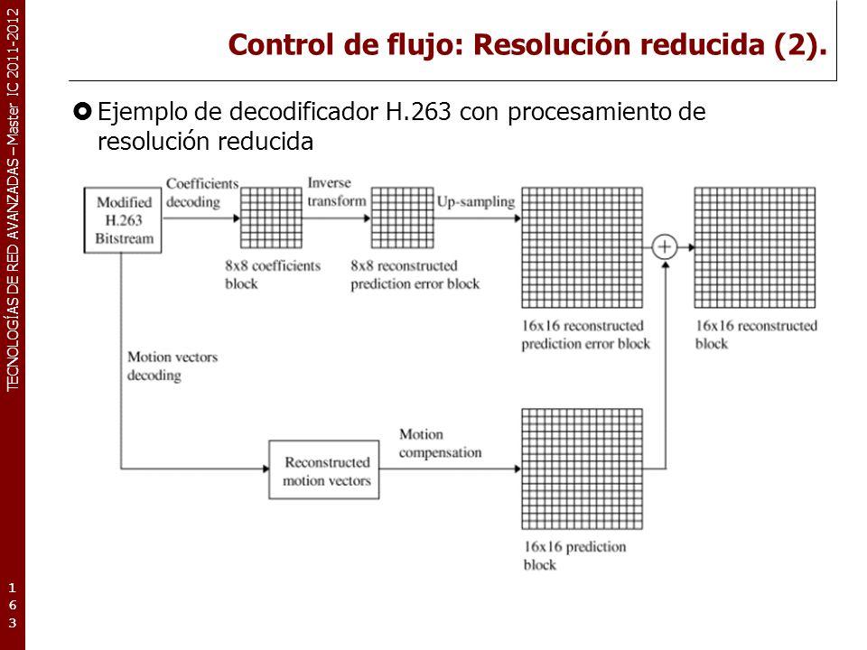 TECNOLOGÍAS DE RED AVANZADAS – Master IC 2011-2012 Control de flujo: Resolución reducida (2). Ejemplo de decodificador H.263 con procesamiento de reso