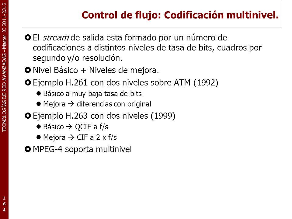 TECNOLOGÍAS DE RED AVANZADAS – Master IC 2011-2012 Control de flujo: Codificación multinivel. El stream de salida esta formado por un número de codifi