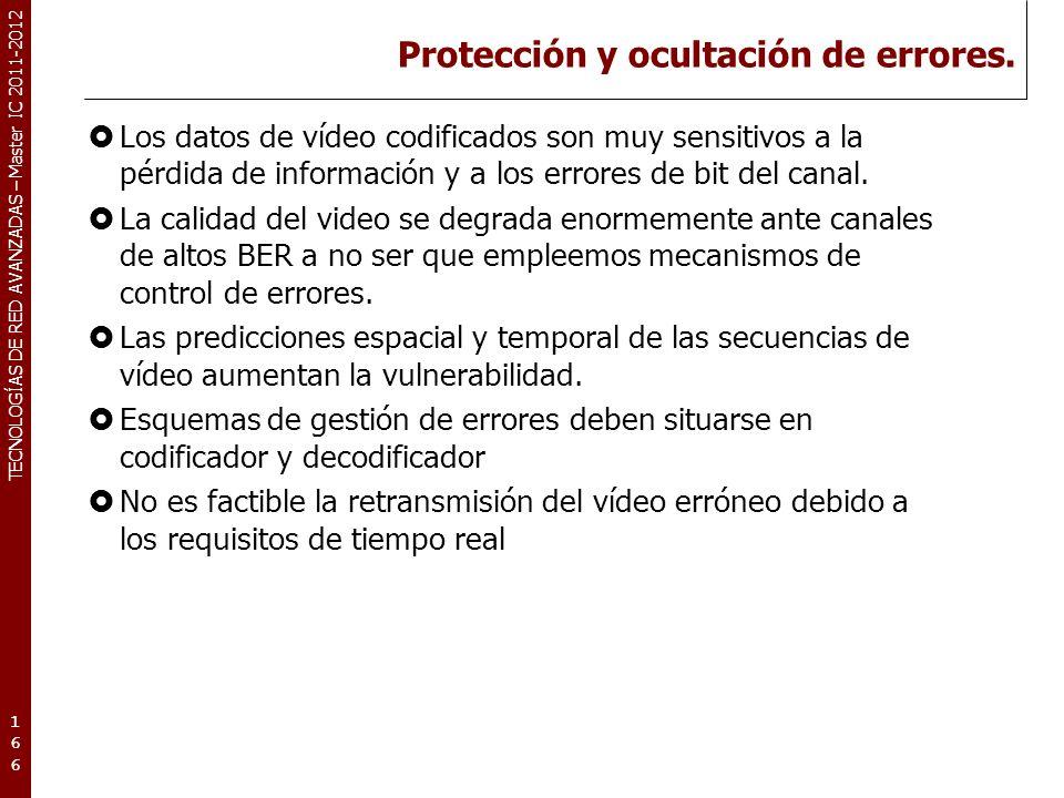 TECNOLOGÍAS DE RED AVANZADAS – Master IC 2011-2012 Protección y ocultación de errores. Los datos de vídeo codificados son muy sensitivos a la pérdida