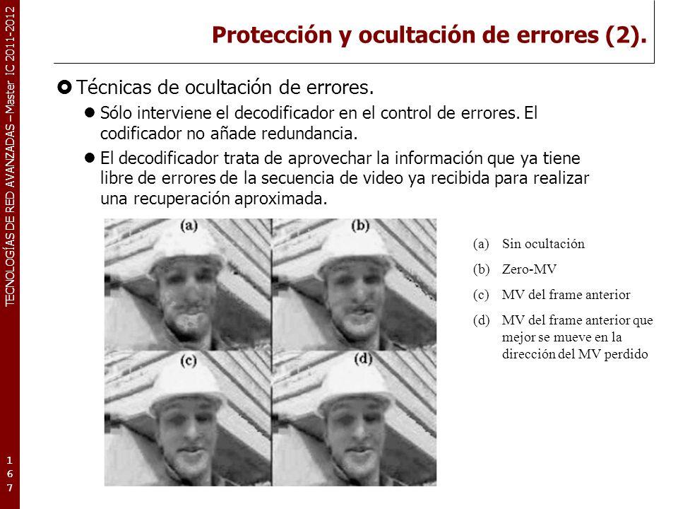 TECNOLOGÍAS DE RED AVANZADAS – Master IC 2011-2012 Protección y ocultación de errores (2). Técnicas de ocultación de errores. Sólo interviene el decod