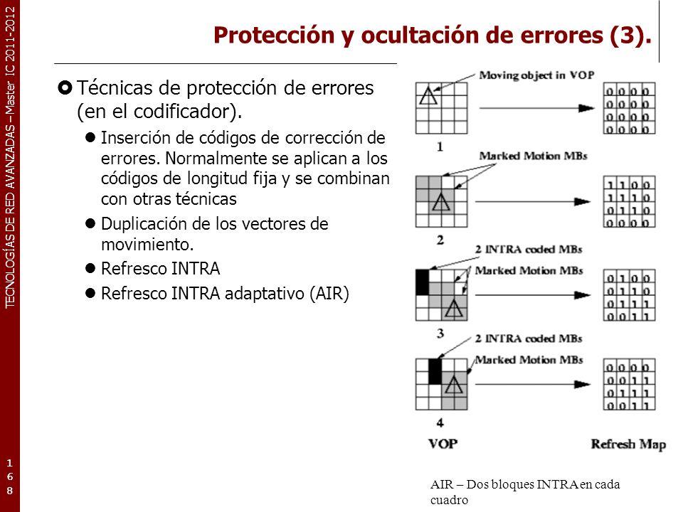 TECNOLOGÍAS DE RED AVANZADAS – Master IC 2011-2012 Protección y ocultación de errores (3). Técnicas de protección de errores (en el codificador). Inse