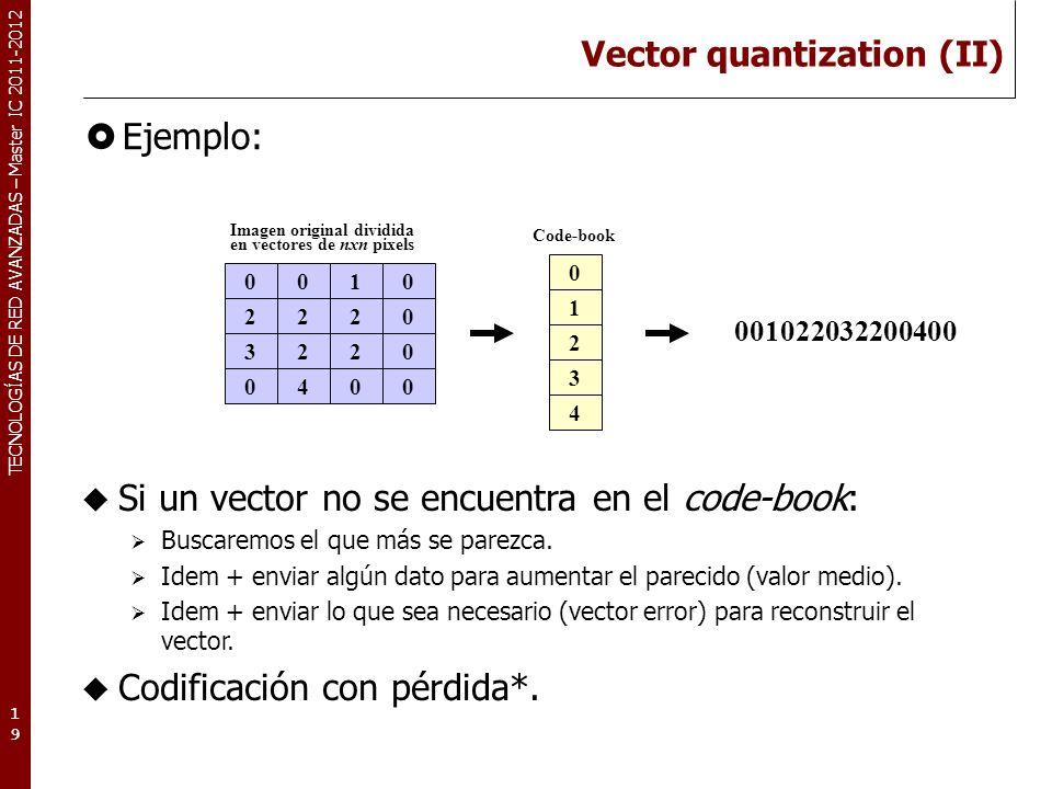 TECNOLOGÍAS DE RED AVANZADAS – Master IC 2011-2012 Vector quantization (II) Ejemplo: 19 0010 2220 3220 0400 Imagen original dividida en vectores de nx