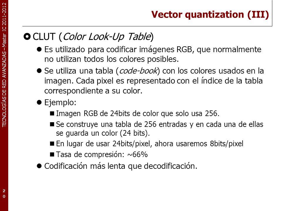 TECNOLOGÍAS DE RED AVANZADAS – Master IC 2011-2012 Vector quantization (III) CLUT (Color Look-Up Table) Es utilizado para codificar imágenes RGB, que