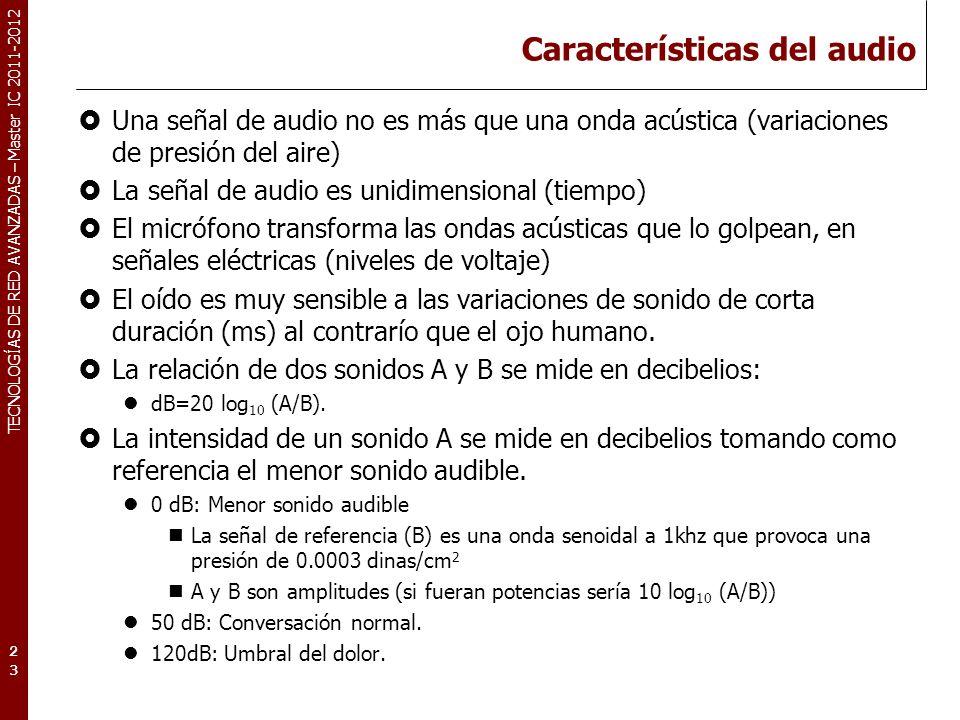TECNOLOGÍAS DE RED AVANZADAS – Master IC 2011-2012 Características del audio Una señal de audio no es más que una onda acústica (variaciones de presió
