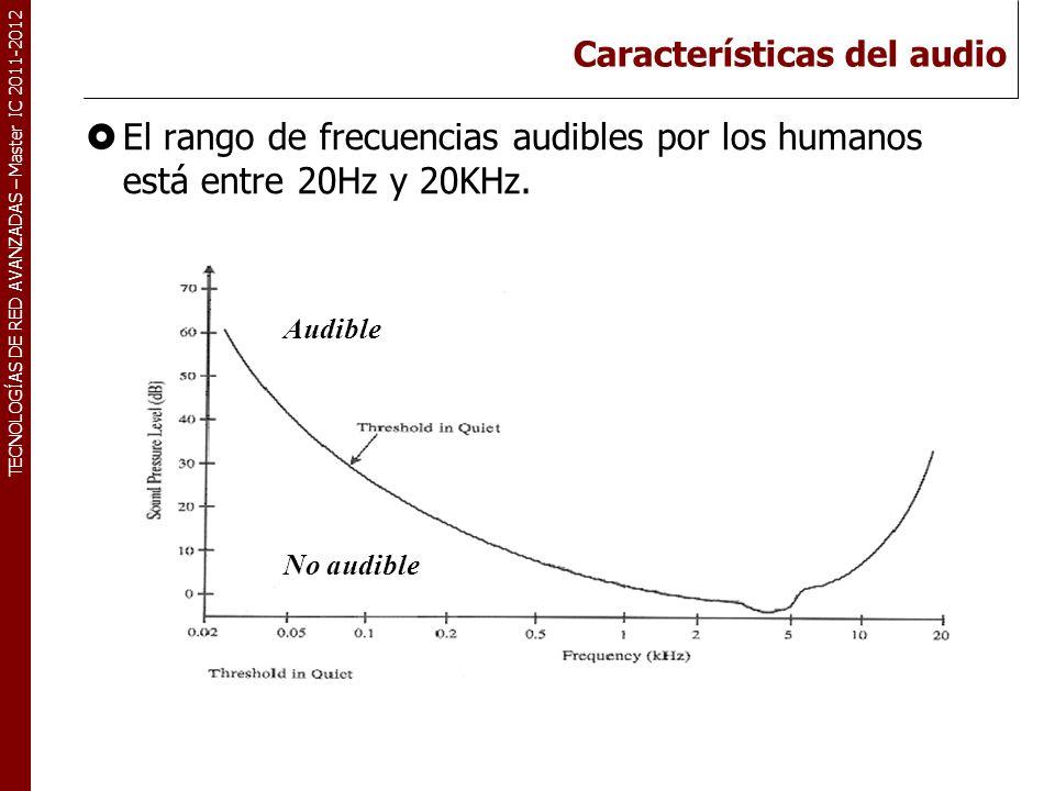 TECNOLOGÍAS DE RED AVANZADAS – Master IC 2011-2012 Características del audio El rango de frecuencias audibles por los humanos está entre 20Hz y 20KHz.