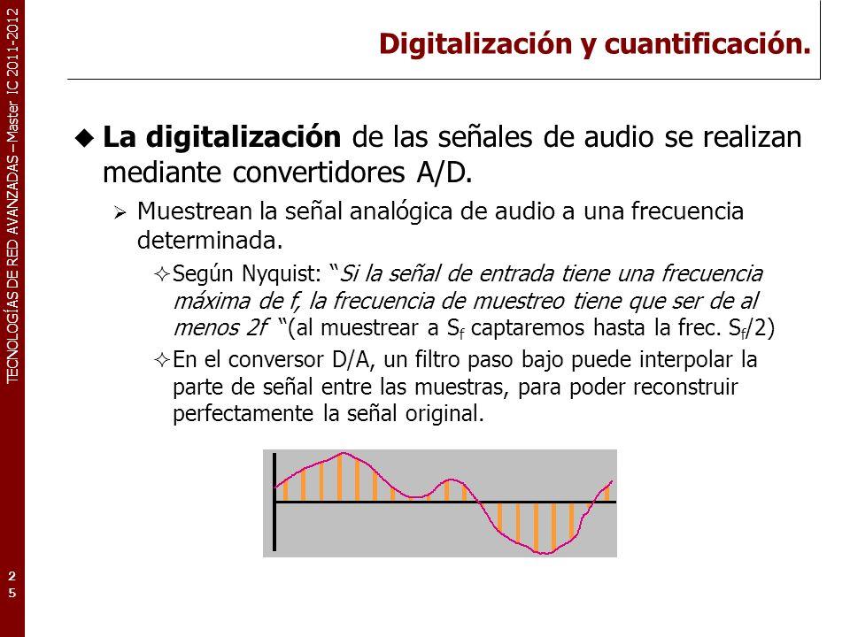 TECNOLOGÍAS DE RED AVANZADAS – Master IC 2011-2012 Digitalización y cuantificación. 25 La digitalización de las señales de audio se realizan mediante