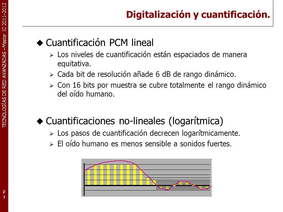 TECNOLOGÍAS DE RED AVANZADAS – Master IC 2011-2012 Digitalización y cuantificación. 27 Cuantificación PCM lineal Los niveles de cuantificación están e