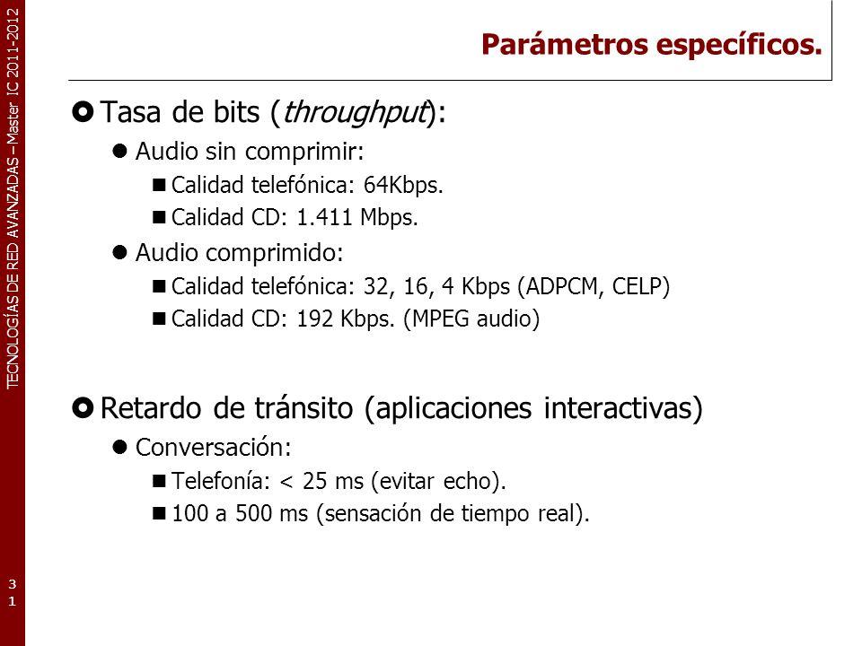 TECNOLOGÍAS DE RED AVANZADAS – Master IC 2011-2012 Parámetros específicos. Tasa de bits (throughput): Audio sin comprimir: Calidad telefónica: 64Kbps.