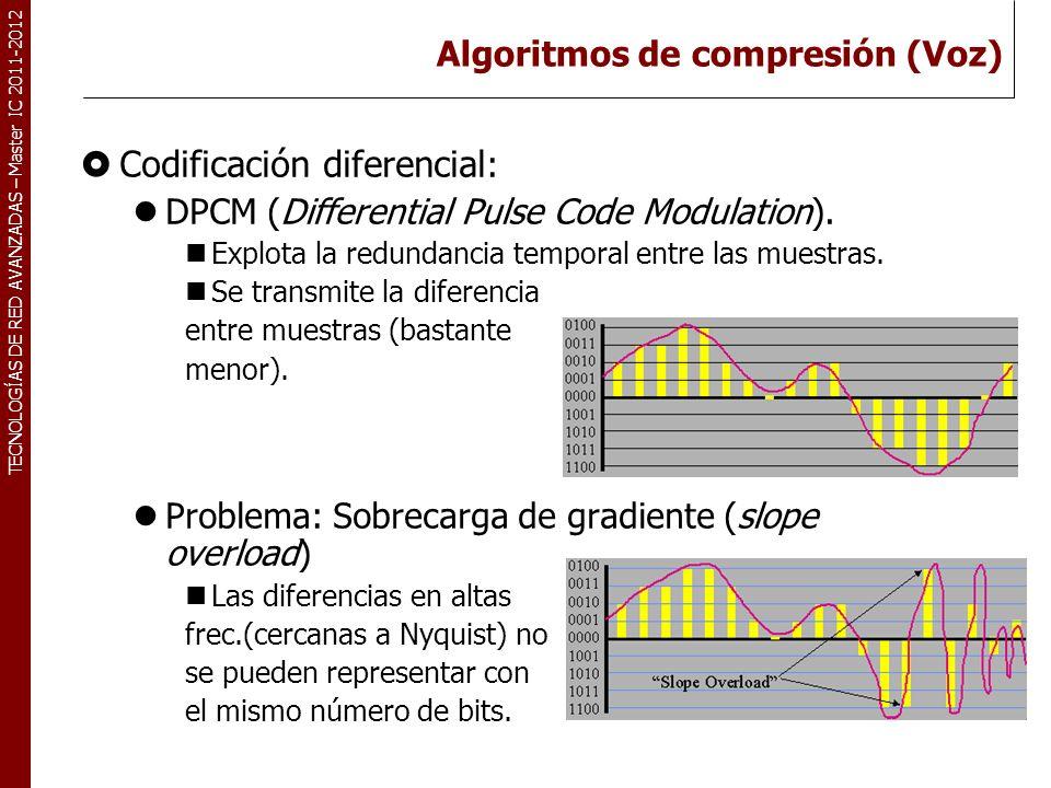 TECNOLOGÍAS DE RED AVANZADAS – Master IC 2011-2012 Algoritmos de compresión (Voz) Codificación diferencial : DPCM (Differential Pulse Code Modulation)