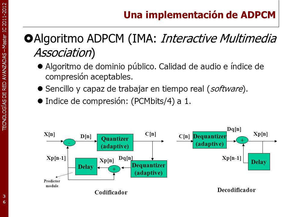TECNOLOGÍAS DE RED AVANZADAS – Master IC 2011-2012 Una implementación de ADPCM Algoritmo ADPCM (IMA: Interactive Multimedia Association) Algoritmo de