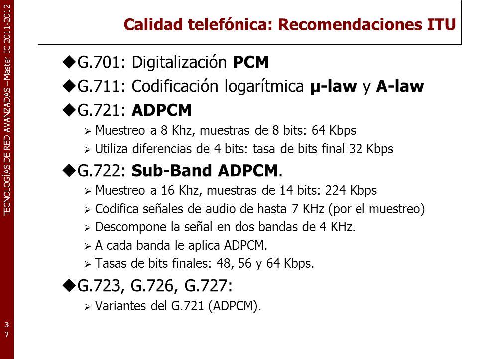 TECNOLOGÍAS DE RED AVANZADAS – Master IC 2011-2012 Calidad telefónica: Recomendaciones ITU G.701: Digitalización PCM G.711: Codificación logarítmica µ