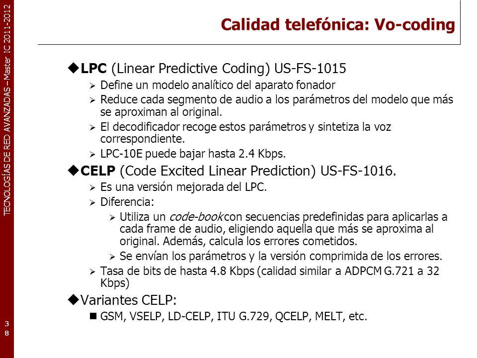 TECNOLOGÍAS DE RED AVANZADAS – Master IC 2011-2012 Calidad telefónica: Vo-coding LPC (Linear Predictive Coding) US-FS-1015 Define un modelo analítico