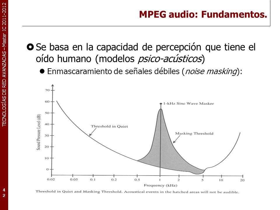 TECNOLOGÍAS DE RED AVANZADAS – Master IC 2011-2012 MPEG audio: Fundamentos. Se basa en la capacidad de percepción que tiene el oído humano (modelos ps