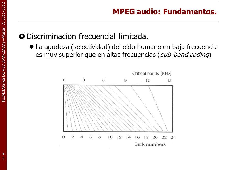 TECNOLOGÍAS DE RED AVANZADAS – Master IC 2011-2012 MPEG audio: Fundamentos. Discriminación frecuencial limitada. La agudeza (selectividad) del oído hu