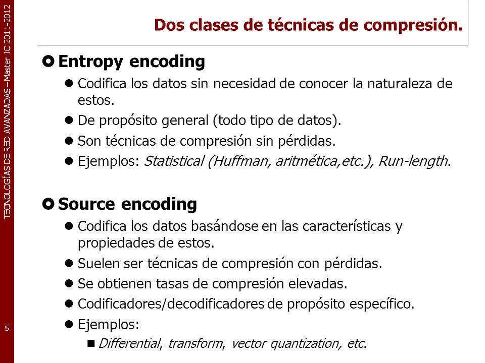 TECNOLOGÍAS DE RED AVANZADAS – Master IC 2011-2012 Dos clases de técnicas de compresión. Entropy encoding Codifica los datos sin necesidad de conocer