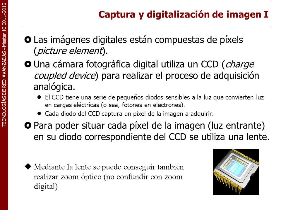 TECNOLOGÍAS DE RED AVANZADAS – Master IC 2011-2012 Captura y digitalización de imagen I Las imágenes digitales están compuestas de píxels (picture ele