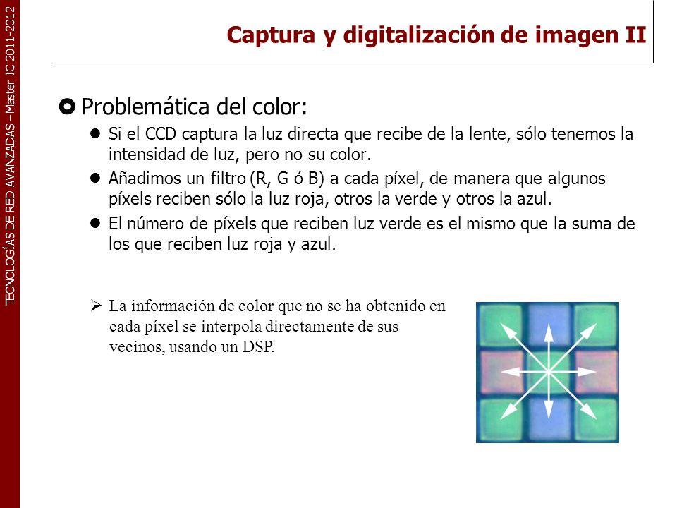 TECNOLOGÍAS DE RED AVANZADAS – Master IC 2011-2012 Captura y digitalización de imagen II Problemática del color: Si el CCD captura la luz directa que