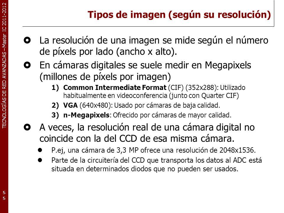 TECNOLOGÍAS DE RED AVANZADAS – Master IC 2011-2012 Tipos de imagen (según su resolución) La resolución de una imagen se mide según el número de píxels