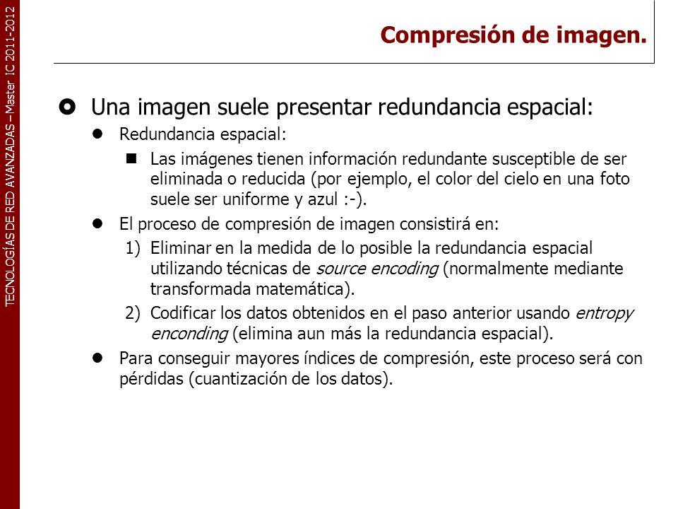 TECNOLOGÍAS DE RED AVANZADAS – Master IC 2011-2012 Compresión de imagen. Una imagen suele presentar redundancia espacial: Redundancia espacial: Las im
