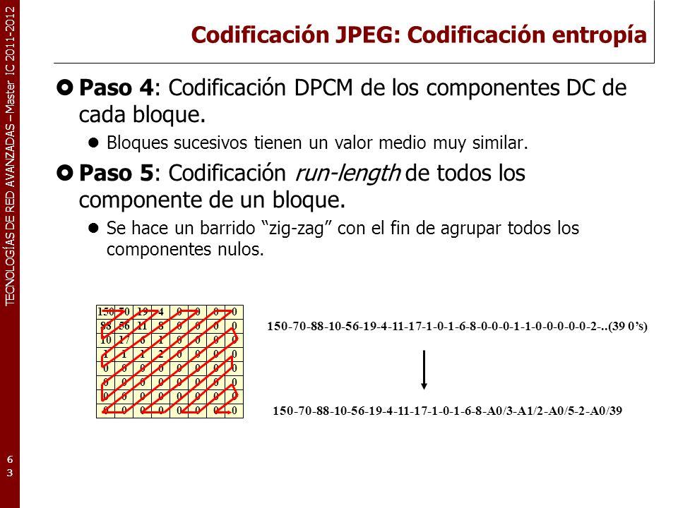 TECNOLOGÍAS DE RED AVANZADAS – Master IC 2011-2012 Codificación JPEG: Codificación entropía Paso 4: Codificación DPCM de los componentes DC de cada bl