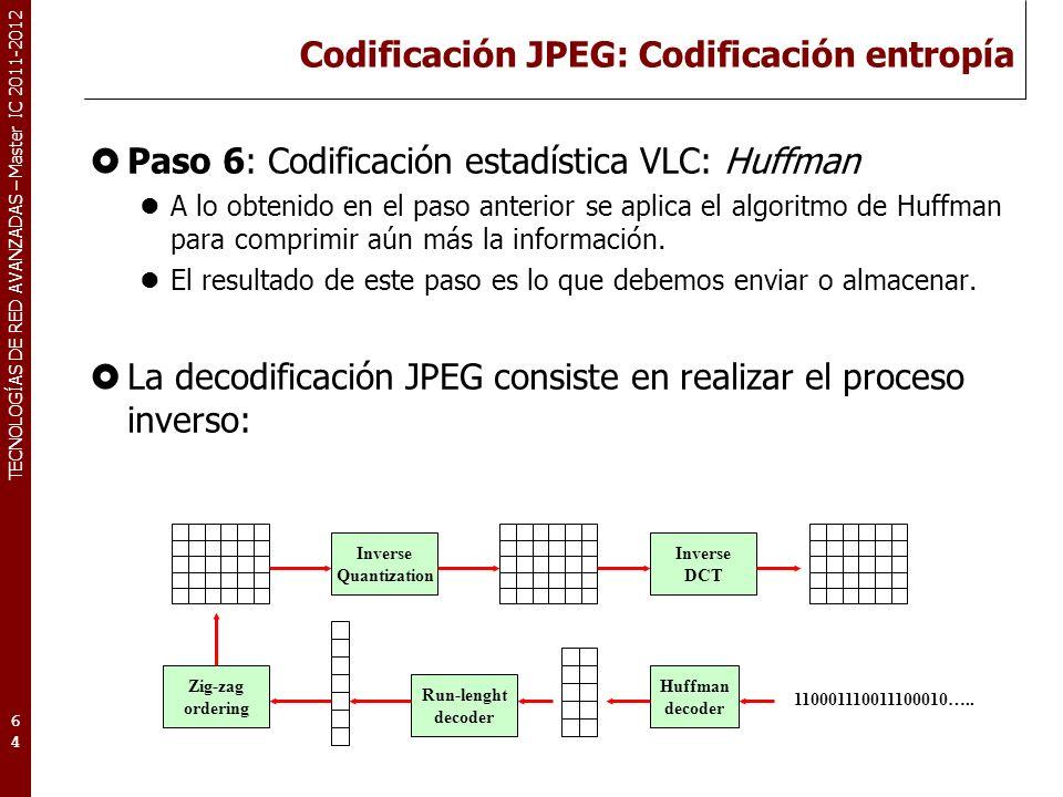 TECNOLOGÍAS DE RED AVANZADAS – Master IC 2011-2012 Codificación JPEG: Codificación entropía Paso 6: Codificación estadística VLC: Huffman A lo obtenid