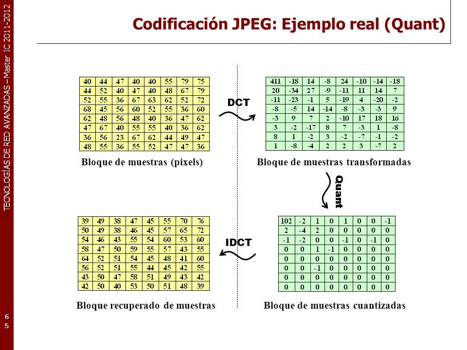 TECNOLOGÍAS DE RED AVANZADAS – Master IC 2011-2012 Codificación JPEG: Ejemplo real (Quant) 65 DCT Bloque de muestras (pixels)Bloque de muestras transf