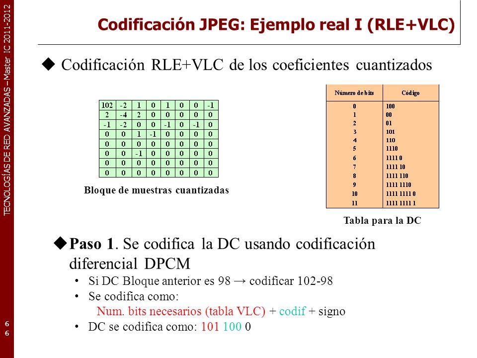 TECNOLOGÍAS DE RED AVANZADAS – Master IC 2011-2012 Codificación JPEG: Ejemplo real I (RLE+VLC) 66 Bloque de muestras cuantizadas Codificación RLE+VLC