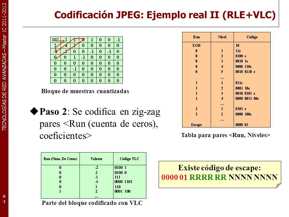 TECNOLOGÍAS DE RED AVANZADAS – Master IC 2011-2012 Codificación JPEG: Ejemplo real II (RLE+VLC) 67 Paso 2: Se codifica en zig-zag pares Tabla para par