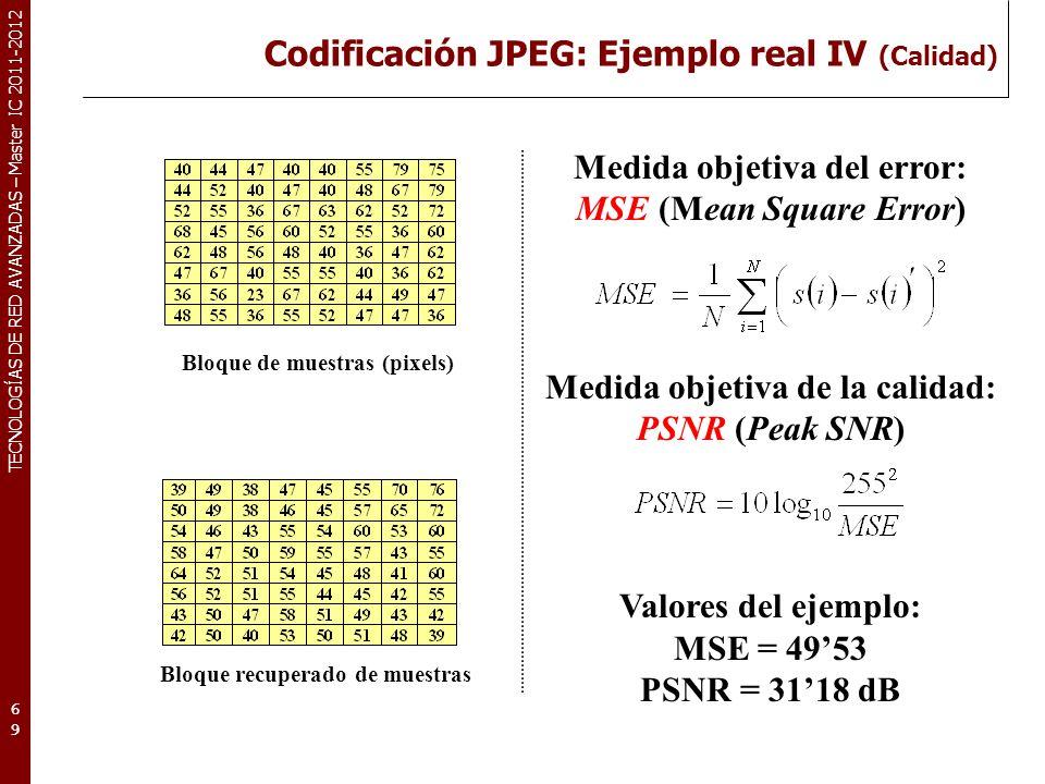 TECNOLOGÍAS DE RED AVANZADAS – Master IC 2011-2012 Codificación JPEG: Ejemplo real IV (Calidad) 69 Medida objetiva del error: MSE (Mean Square Error)
