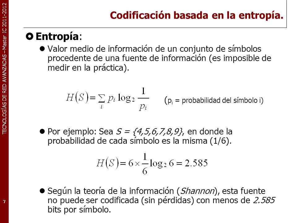 TECNOLOGÍAS DE RED AVANZADAS – Master IC 2011-2012 Codificación basada en la entropía. Entropía: Valor medio de información de un conjunto de símbolos