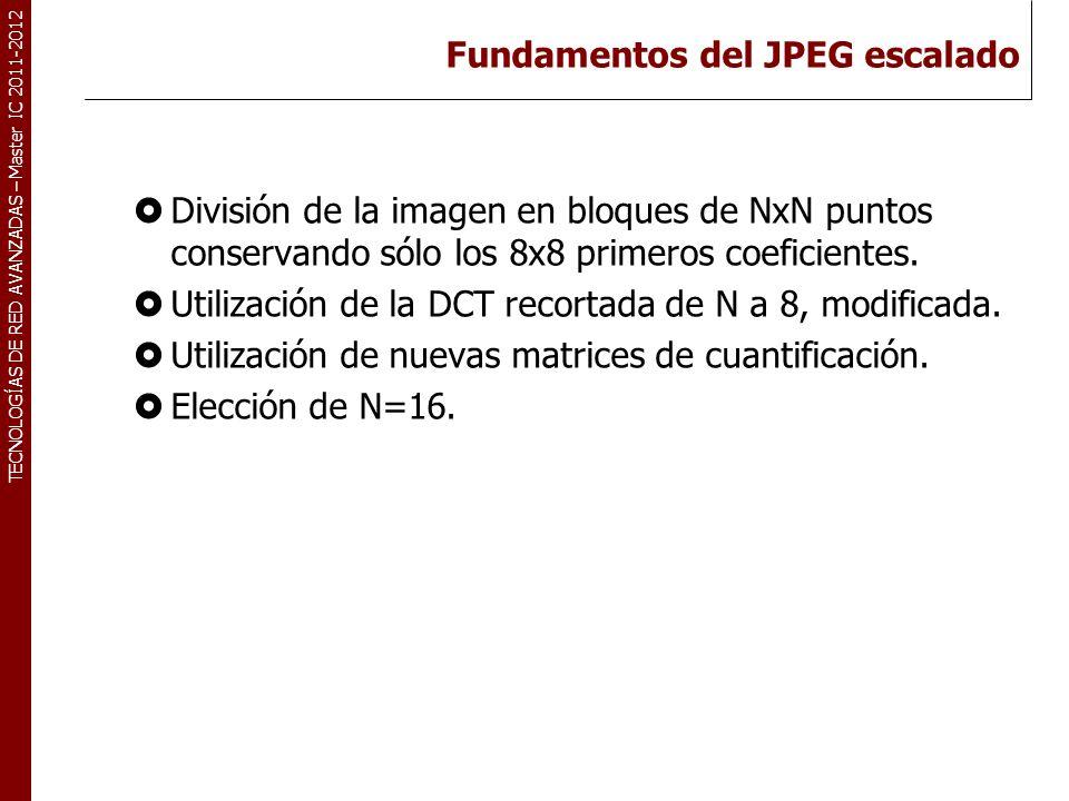 TECNOLOGÍAS DE RED AVANZADAS – Master IC 2011-2012 Fundamentos del JPEG escalado División de la imagen en bloques de NxN puntos conservando sólo los 8