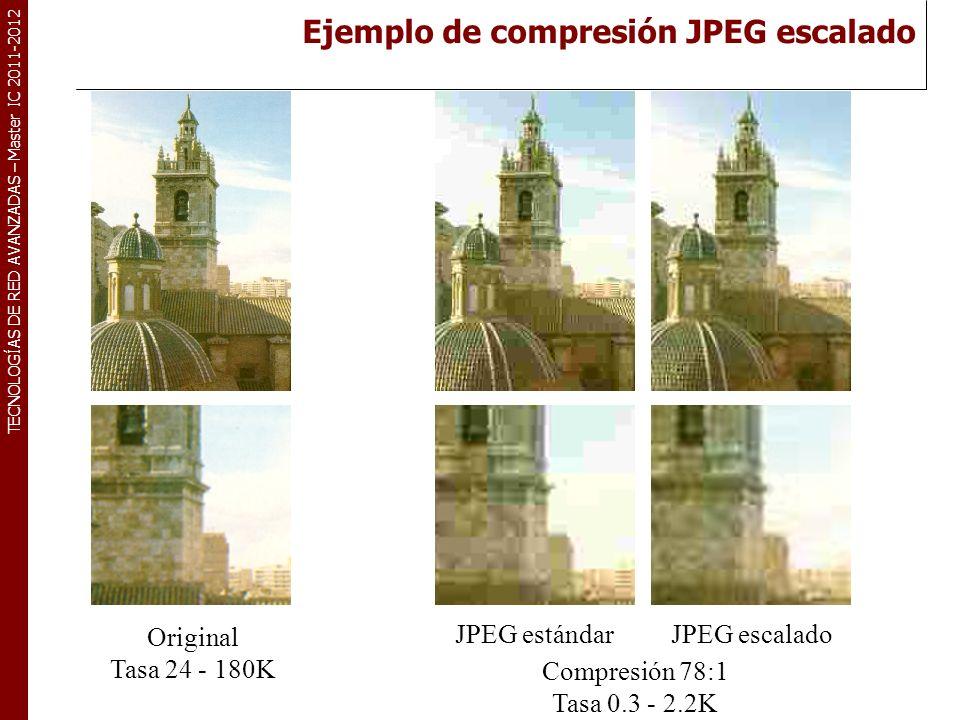TECNOLOGÍAS DE RED AVANZADAS – Master IC 2011-2012 Original Tasa 24 - 180K Compresión 78:1 Tasa 0.3 - 2.2K JPEG estándarJPEG escalado Ejemplo de compr