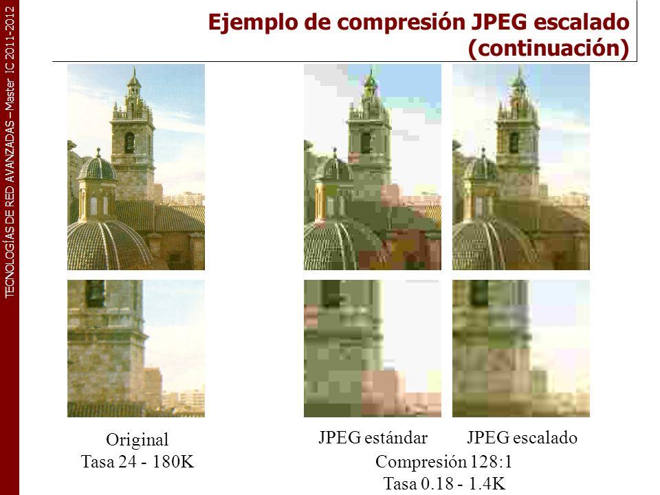TECNOLOGÍAS DE RED AVANZADAS – Master IC 2011-2012 Original Tasa 24 - 180K Compresión 128:1 Tasa 0.18 - 1.4K JPEG estándarJPEG escalado Ejemplo de com
