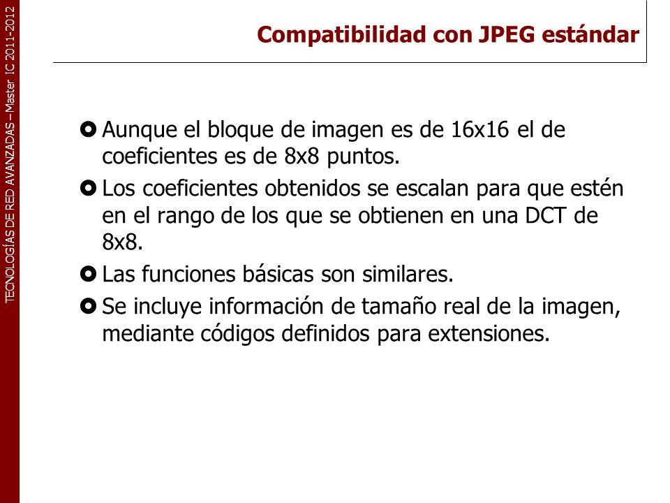 TECNOLOGÍAS DE RED AVANZADAS – Master IC 2011-2012 Compatibilidad con JPEG estándar Aunque el bloque de imagen es de 16x16 el de coeficientes es de 8x