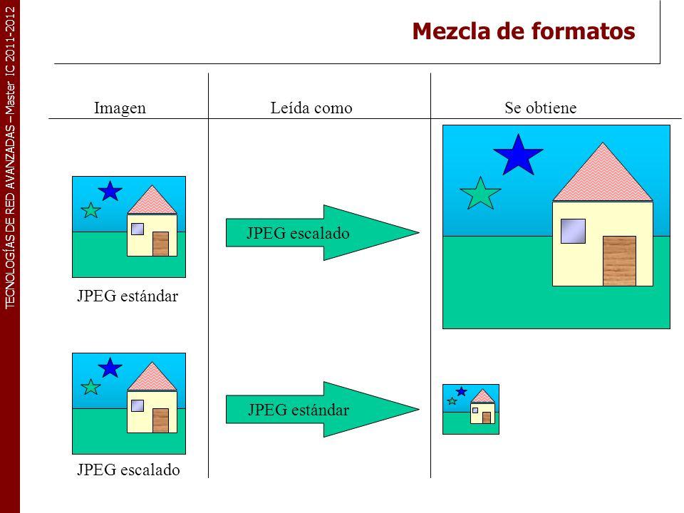 TECNOLOGÍAS DE RED AVANZADAS – Master IC 2011-2012 Mezcla de formatos ImagenLeída comoSe obtiene JPEG estándar JPEG escalado JPEG estándar JPEG escala