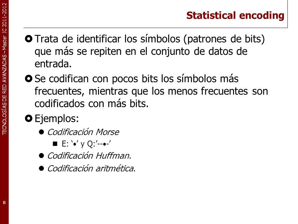 TECNOLOGÍAS DE RED AVANZADAS – Master IC 2011-2012 Statistical encoding Trata de identificar los símbolos (patrones de bits) que más se repiten en el